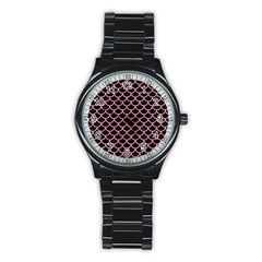 Scales1 Black Marble & Pink Watercolor (r) Stainless Steel Round Watch by trendistuff