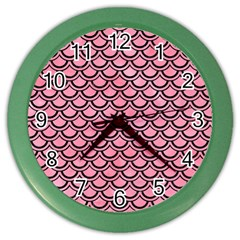 Scales2 Black Marble & Pink Watercolor Color Wall Clocks by trendistuff