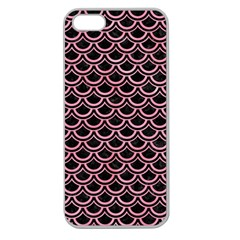 Scales2 Black Marble & Pink Watercolor (r) Apple Seamless Iphone 5 Case (clear) by trendistuff