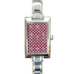 Scales3 Black Marble & Pink Watercolor Rectangle Italian Charm Watch by trendistuff