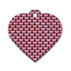 Scales3 Black Marble & Pink Watercolor Dog Tag Heart (one Side) by trendistuff