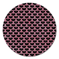 Scales3 Black Marble & Pink Watercolor (r) Magnet 5  (round) by trendistuff