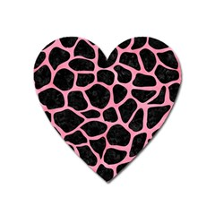 Skin1 Black Marble & Pink Watercolor Heart Magnet by trendistuff