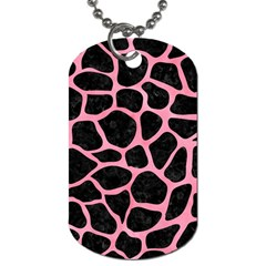 Skin1 Black Marble & Pink Watercolor Dog Tag (two Sides) by trendistuff