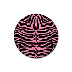 Skin2 Black Marble & Pink Watercolor (r) Rubber Coaster (round)  by trendistuff