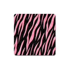 Skin3 Black Marble & Pink Watercolor (r) Square Magnet by trendistuff