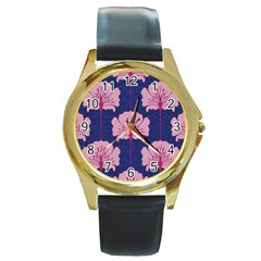 Beautiful Art Nouvea Floral Pattern Round Gold Metal Watch by 8fugoso