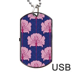 Beautiful Art Nouvea Floral Pattern Dog Tag Usb Flash (one Side) by 8fugoso