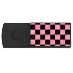 Square1 Black Marble & Pink Watercolor Rectangular Usb Flash Drive by trendistuff