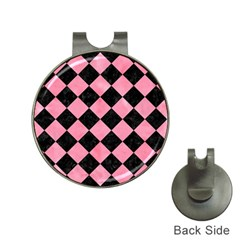 Square2 Black Marble & Pink Watercolor Hat Clips With Golf Markers