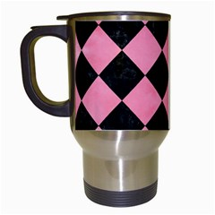 Square2 Black Marble & Pink Watercolor Travel Mugs (white) by trendistuff