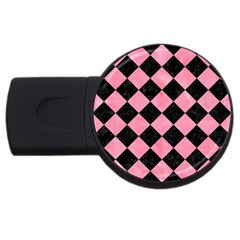 Square2 Black Marble & Pink Watercolor Usb Flash Drive Round (4 Gb)