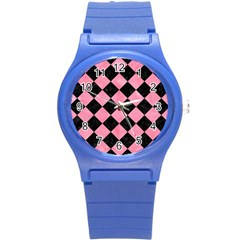 Square2 Black Marble & Pink Watercolor Round Plastic Sport Watch (s) by trendistuff