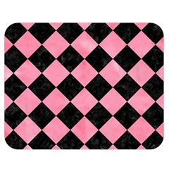 Square2 Black Marble & Pink Watercolor Double Sided Flano Blanket (medium)  by trendistuff