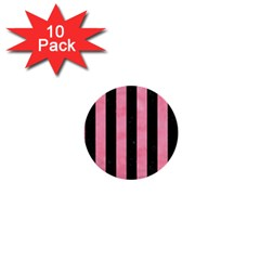 Stripes1 Black Marble & Pink Watercolor 1  Mini Buttons (10 Pack)