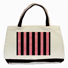 Stripes1 Black Marble & Pink Watercolor Basic Tote Bag (two Sides) by trendistuff