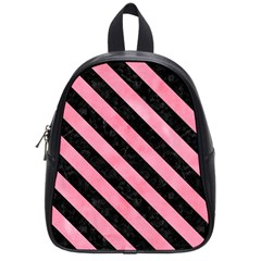 Stripes3 Black Marble & Pink Watercolor School Bag (small) by trendistuff