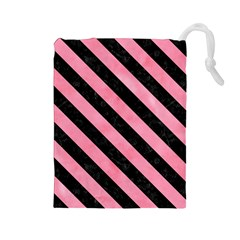 Stripes3 Black Marble & Pink Watercolor Drawstring Pouches (large)  by trendistuff