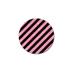 Stripes3 Black Marble & Pink Watercolor (r) Golf Ball Marker by trendistuff