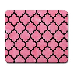 Tile1 Black Marble & Pink Watercolor Large Mousepads by trendistuff
