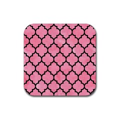 Tile1 Black Marble & Pink Watercolor Rubber Square Coaster (4 Pack)  by trendistuff