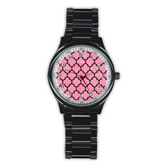 Tile1 Black Marble & Pink Watercolor Stainless Steel Round Watch by trendistuff