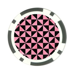 Triangle1 Black Marble & Pink Watercolor Poker Chip Card Guard (10 Pack) by trendistuff