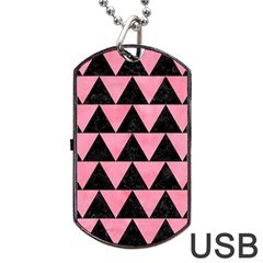 Triangle2 Black Marble & Pink Watercolor Dog Tag Usb Flash (one Side) by trendistuff