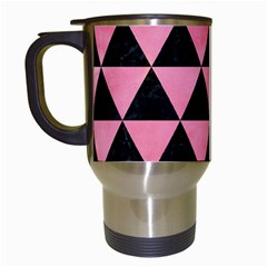 Triangle3 Black Marble & Pink Watercolor Travel Mugs (white) by trendistuff