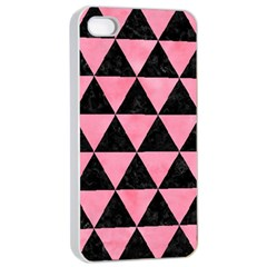 Triangle3 Black Marble & Pink Watercolor Apple Iphone 4/4s Seamless Case (white)