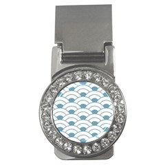 Art Deco Teal White Money Clips (cz)  by 8fugoso