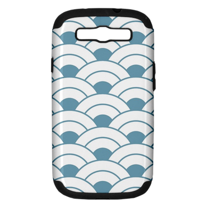 art deco teal white Samsung Galaxy S III Hardshell Case (PC+Silicone)