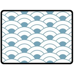 Art Deco Teal White Double Sided Fleece Blanket (large)  by 8fugoso