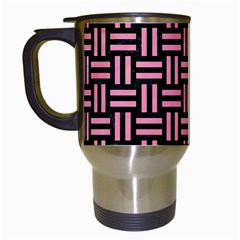 Woven1 Black Marble & Pink Watercolor (r) Travel Mugs (white) by trendistuff