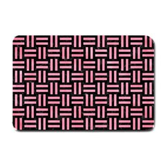 Woven1 Black Marble & Pink Watercolor (r) Small Doormat  by trendistuff