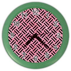 Woven2 Black Marble & Pink Watercolor Color Wall Clocks by trendistuff