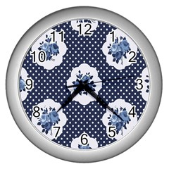 Shabby Chic Navy Blue Wall Clocks (silver)  by 8fugoso