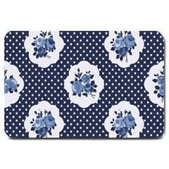 Shabby Chic Navy Blue Large Doormat  by 8fugoso