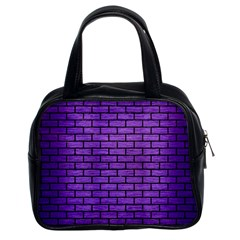 Brick1 Black Marble & Purple Brushed Metal Classic Handbags (2 Sides) by trendistuff