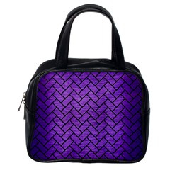 Brick2 Black Marble & Purple Brushed Metal Classic Handbags (one Side)