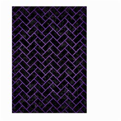 Brick2 Black Marble & Purple Brushed Metal (r) Large Garden Flag (two Sides) by trendistuff