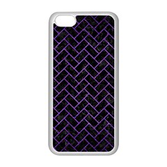 Brick2 Black Marble & Purple Brushed Metal (r) Apple Iphone 5c Seamless Case (white)