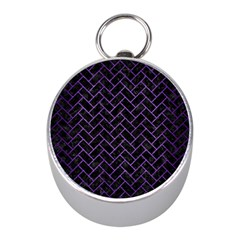 Brick2 Black Marble & Purple Brushed Metal (r) Mini Silver Compasses by trendistuff