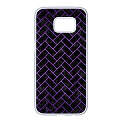 Brick2 Black Marble & Purple Brushed Metal (r) Samsung Galaxy S7 Edge White Seamless Case by trendistuff