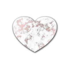 Pure And Beautiful White Marple And Rose Gold, Beautiful ,white Marple, Rose Gold,elegnat,chic,modern,decorative, Rubber Coaster (heart)  by 8fugoso