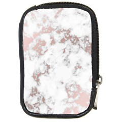 Pure And Beautiful White Marple And Rose Gold, Beautiful ,white Marple, Rose Gold,elegnat,chic,modern,decorative, Compact Camera Cases