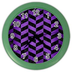Chevron1 Black Marble & Purple Brushed Metal Color Wall Clocks