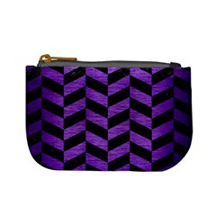 Chevron1 Black Marble & Purple Brushed Metal Mini Coin Purses by trendistuff