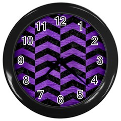 Chevron2 Black Marble & Purple Brushed Metal Wall Clocks (black) by trendistuff