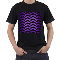 Chevron2 Black Marble & Purple Brushed Metal Men s T Shirt (black) (two Sided) by trendistuff
